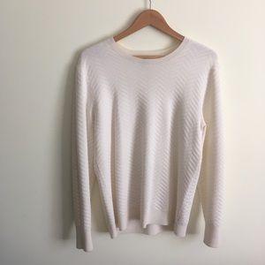 Theory   Cream Chevron Print Sweater Medium
